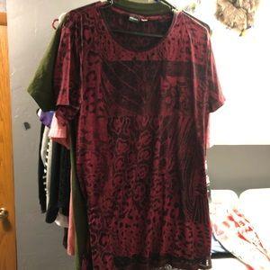 Diesel red longline t shirt